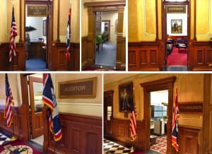 The front doors of the four elected officers who occupy the Capitol, along with the State Attorney General. (WyoFile/Gregory Nickerson — click to enlarge)