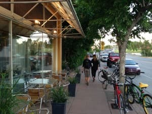 Lander Main Street welcomes pedestrians and biking customers. (Click to enlarge)