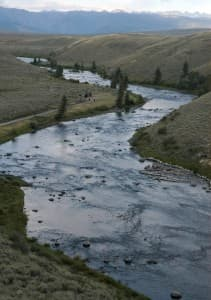 """""""The Narrows"""" is the site of a potential dam on the Green River just upstream of the Warren Bridge northwest of Pinedale. Gov. Mead's water strategy survey seeks residents' opinions on whether they favor a dam here. (Angus M. Thuermer Jr. / WyoFile - click to enlarge))"""