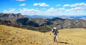 Amy McCarthy hikes in the Absaroka mountains. McCarthy has made a switch to light weight gear to allow for big traverses on her weekends.. (Photo by Forrest McCarthy - click to enlarge)
