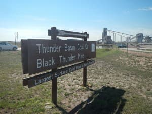"""""""The massive Black Thunder mine is next to Two Elk site (Rone Tempest/WyoFile — click to enlarge)"""""""