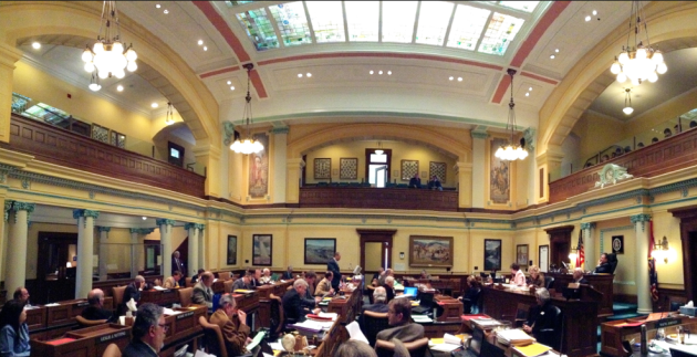 The Wyoming Senate Floor during the 2014 legislative session. Conservative and moderate Republicans face primary challenges on the right this August 19. (Gregory Nickerson / WyoFile — click to enlarge)