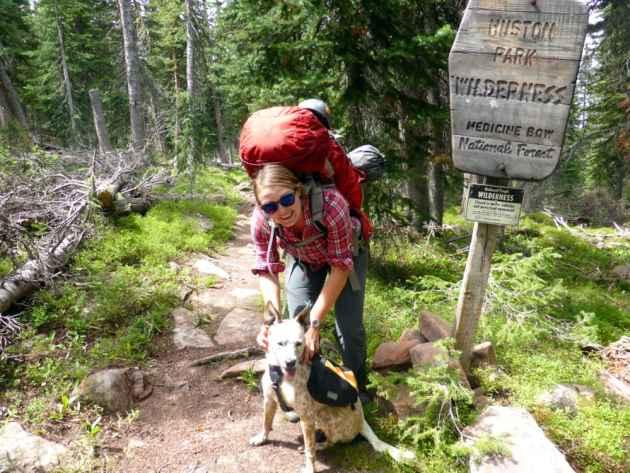 Laurel at the Huston Park Wilderness boundary in the Medicine Bow National Forest. (Emilene Ostlind - click to enlarge)