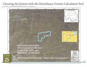 BLM critics say density calculations make developments, like the uranium mine proposed on this map, seem as if they disturb a smaller part of the project area that they actually do. That's because the project area is much smaller (light blue interior rectangles) than the area used to calculate development density (dark blue exterior outline.) (click to enlarge)