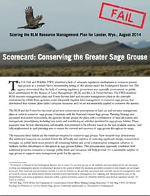 """Here is the conservation groups' scorecard, which they used to give the BLM's Lander resource plan an """"F."""" BLM officials disagree with the criticism and call the plan balanced. (click to read)"""