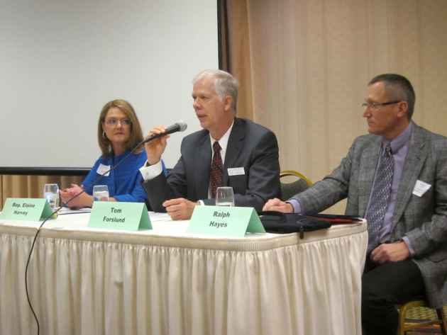 Rep. Elaine Harvey (R-Lovell), Wyoming Department of Health Director Tom Forslund, and Wyoming Employee Group Insurance director Ralph Hayes spoke at a panel hosted by the Wyoming Business Coalition on Health in Casper on September 25, 2014. (Gregory Nickerson/WyoFile — click to enlarge)