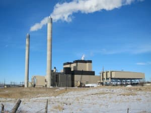 Steam rises from smokestacks at the Wyodak power complex outside Gillette, Wyoming. (Dustin Bleizeffer/WyoFile)