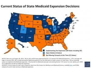 Wyoming is one of 21 states that are not moving forward with MEdicaid expansion at this time. Pennsylvania recently had its plan approved by the Center for Medicaid Services, while Republican governors in Utah and Indiana are currently working on their plans. (Kaiser Foundation — click to enlarge)