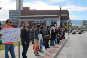 Proponents of same-sex marriage rally in Casper. Wyoming does not have a Defense of Marriage Amendment in its constitution, but neither has it passed legislation to pave the way for same-sex marriage. (Dustin Bleizeffer/WyoFile — click to enlarge)