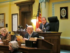 During the 2013 session Senate President Tony Ross (R-Cheyenne) introduced a senate resolution and companion bill to allow the governor to appoint up to two non-resident trustees to the University of Wyoming. The senate confirms all appointees to civic and military office. (Gregory Nickerson/WyoFile — click to enlarge)