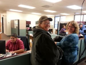 Shelly Montgomery and Brie Barth apply for a marriage license at the Laramie County Courthouse in Cheyenne. They were turned down, and subsequently joined a lawsuit asking for immediate decision on whether Wyoming should issue marriage licenses to same-sex couples. (Courtesy Wyoming Unites for Marriage — click to enlarge)