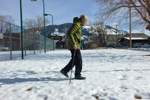 Schmitz, who once scampered up mountains, is strengthening his back muscles that atrophied when he was laid up with pneumonia. Until he gets stronger, he has to use a cane to walk or stand up straight. He has had more than 30 operations to take care of injuries sustained in climbing accidents. (Angus M. Thuermer Jr./WyoFile)