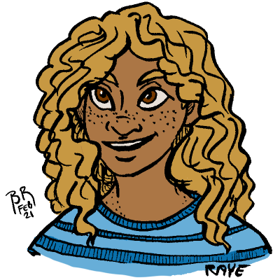A portrait of Raye with her curly hair loose around her shoulders. She's grinning and wears a blue striped tee shirt.