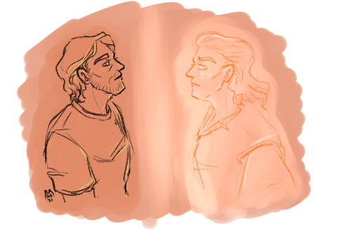 Portrait sketches of Sam and a spirit standing in profile, facing each other.
