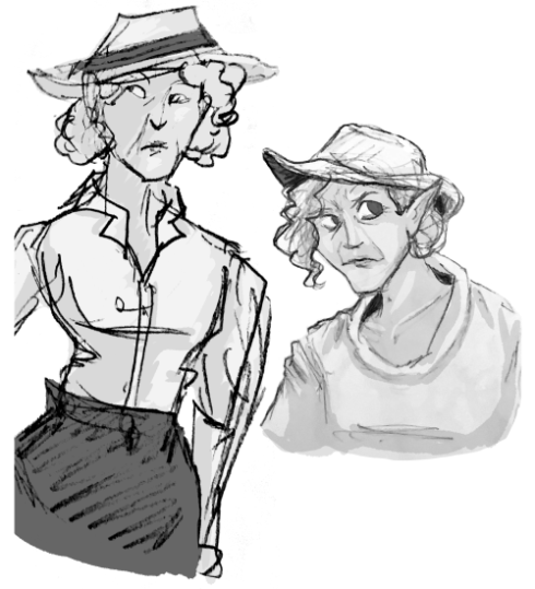 A waist up sketch of older woman with pointed ears and curly hair dressed in a floppy hat and rancher garb. A portrait shot of the same woman.