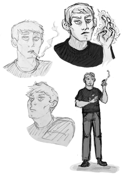 Grayscale sketches of Blythe Bonfils. Three portrait shots, one where he's smoking, one where he holds up a hand glowing with magical energy, and one where he has his eyes narrowed. A full bodied sketch of him holding a cigarette in one hand, and a magical flame in the other.