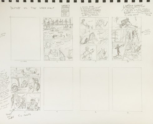 Four out of eight drawn rectangles filled with thumbnail sketches, plus notes and numbered lists of panels.