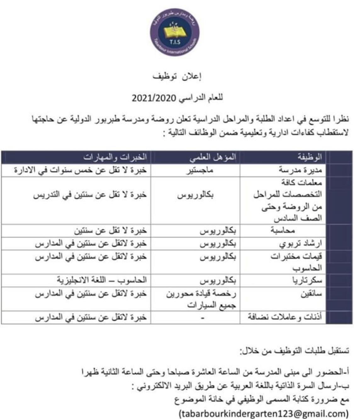 وظائف اداريه في المدارس