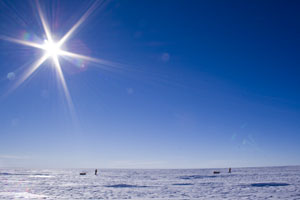 Larsen's crew trekking through Antarctica. Courtesy: Eric Larsen