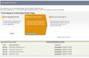 Opportunity Layout Setup page