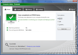Microsoft Security Essentials result scan