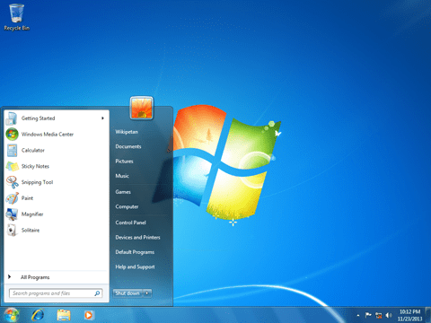 The Windows 7 Desktop and Start Menu. Note the limited space - what you see is what you get.