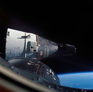 Gemini 7 in orbit as seen from Gemini 6.