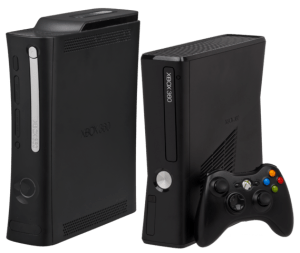 "The Xbox 360, both original ""elite"" model on the left, and the redesigned ""S"" model on the right."
