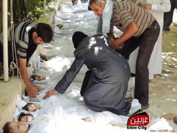 Những nạn nhân trẻ em thiệt mạng trong vụ tấn công bằng khí độc ở ngoại ô Damascus tháng 8-2013.