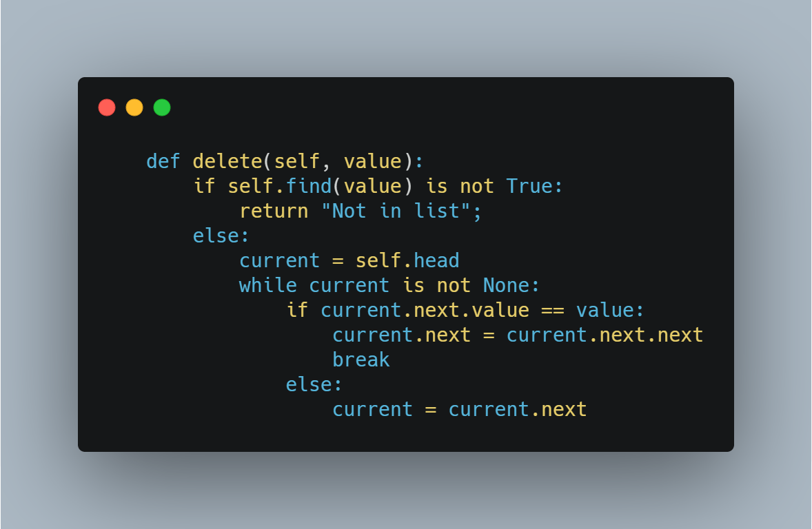 deleting a node in linked list