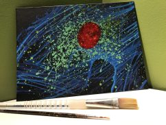 This acrylic piece is the first in a series of paintings of scientific themes.