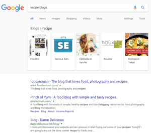 Google blog search results recipe blogs