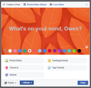 Facebook status update background colors screenshot 4