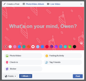 Facebook status update background colors screenshot 5