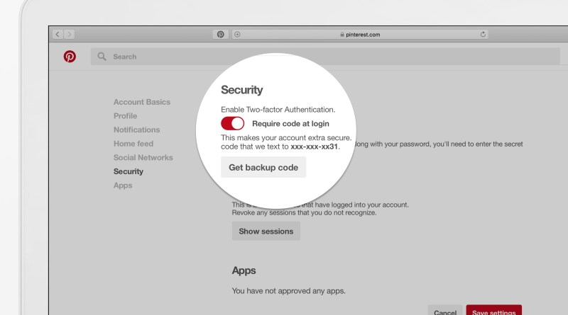 Pinterest two-factor authentication