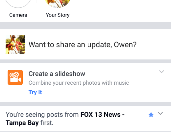 Facebook Create a slideshow CTA