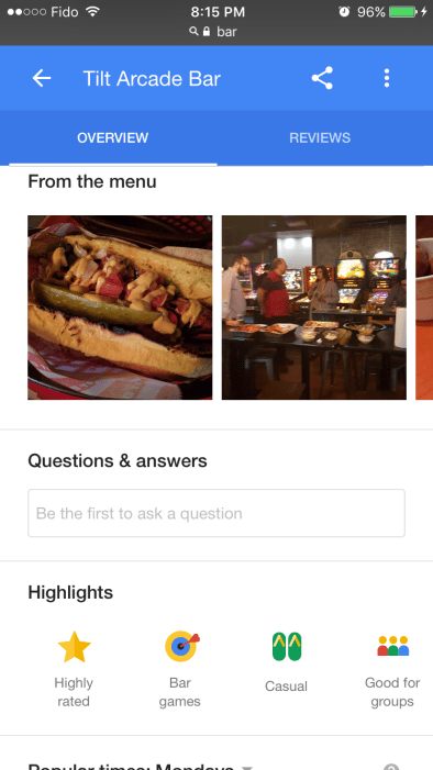 Google Knowledge Panel 'Questions & Answers'