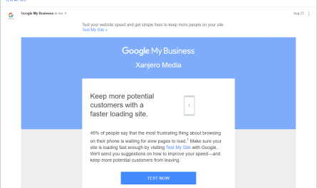 Google My Business test mobile site speed email