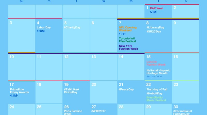 Twitter September major events calendar