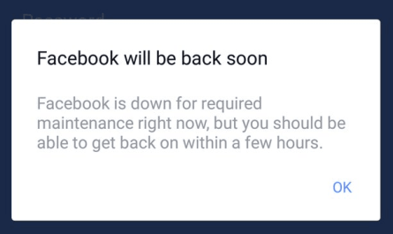 Facebook Instagram down screenshot