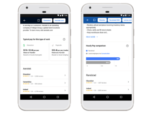 Google job search feature salary ranges
