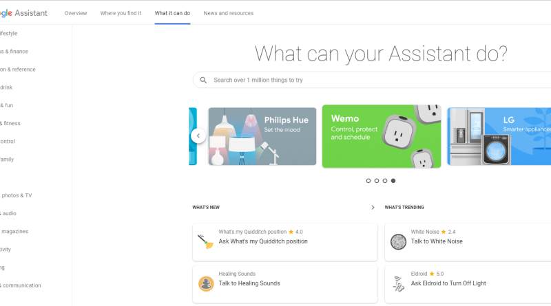 Google Assistant web directory