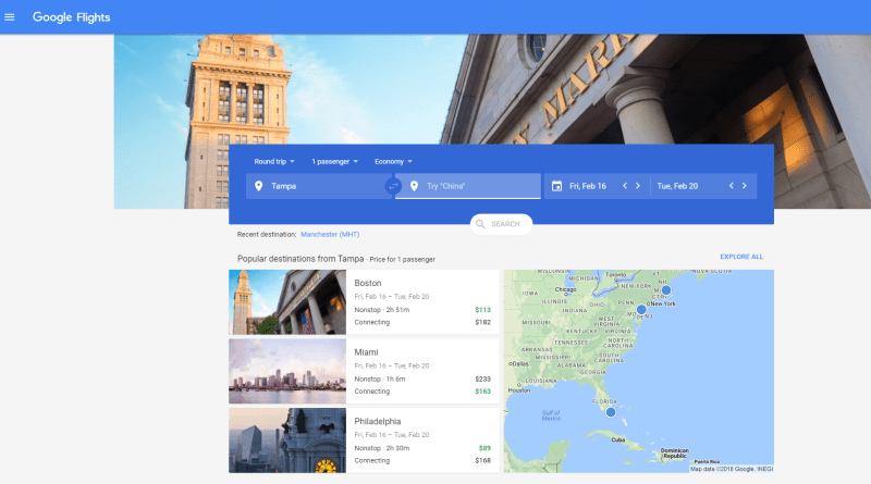 Google Flights airline delays