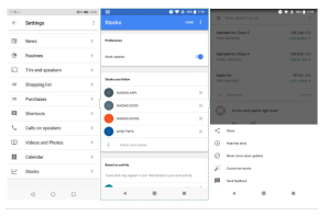 Google Assistant Services Stocks screenshots