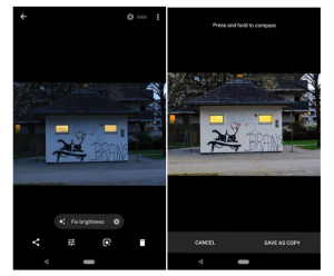Google Photos auto brightness fix before and after