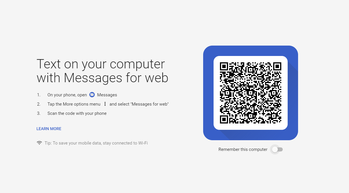 Android Messages web client