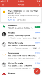 gmail ios high-priority notifications screenshot