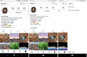 Instagram saved posts right sidebar test screenshots