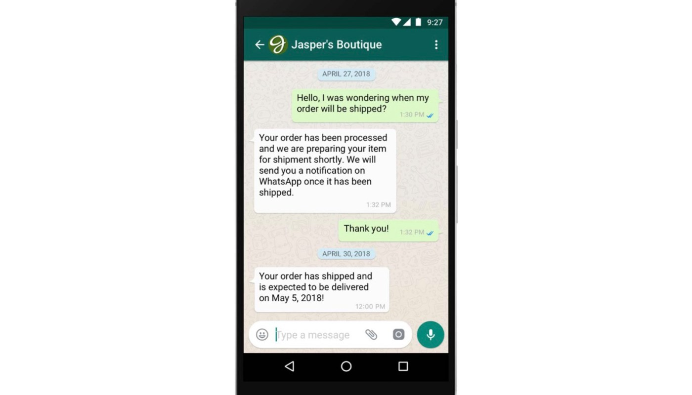 WhatsApp delayed business message reply fee