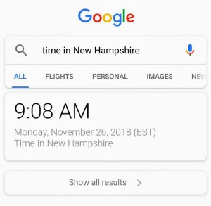 time in New Hampshire